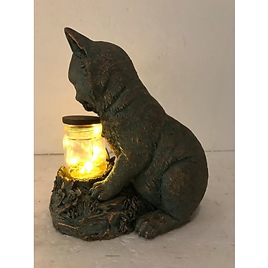 Hi-Line Gift Ltd. 78524-D, Cat Sitting with the Fairy Lights in a Jar Statue