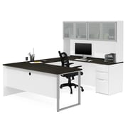 Bestar Pro-Concept Plus U-Desk with Frosted Glass Door Hutch, White and Deep Grey (110890-17 )