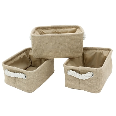 Cathay Importers Burlap Rectangle Storage Basket