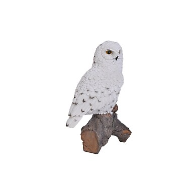 Hi-Line Gift Ltd. 87772, Snowy Owl on Stump Statue