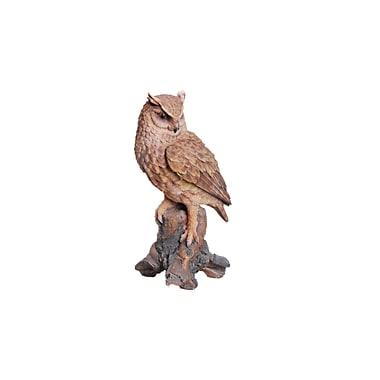 Hi-Line Gift Ltd. 87773, Great Horned Owl on Stump Statue