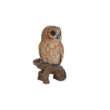 Hi-Line Gift Ltd. 87767-D, Tawny Owl on Stump Statue