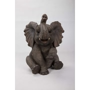 Hi-Line Gift Ltd. 87948-B, Sitting Elephant Baby with Trunk up Statue