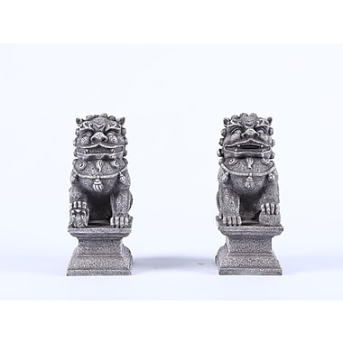 Hi-Line Gift Ltd. 77126-GY, Foo Dog 2 Piece Male and Female Statue Set