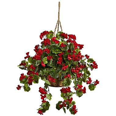 Nearly Natural Geranium Hanging Basket Red (6857-RD)