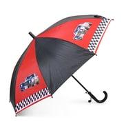 Zodaca - Parapluie pour enfant léger en nylon avec poignée en forme de crochet, voitures sur fonds rouge