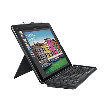 Logitech Slim Combo with Detachable Keyboard and Smart Connector for iPad Pro, 12.9-inch, Black