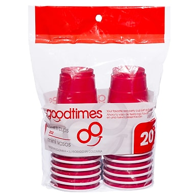 Goodtimes™ Red Mini Plastic Cups, 2 oz., 20/Pack