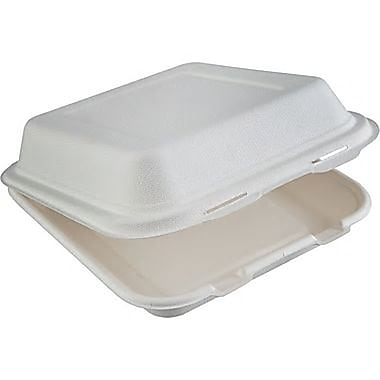 Natureware Compostable Sugarcane Hinged Take-Out Containers, Large, 8.5