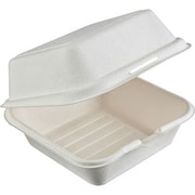 "Natureware Compostable Sugarcane Hinged Take-Out Containers, Small, 6""X6""X3"", 50/pack"