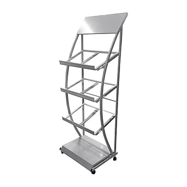Futech 3-Shelves Rolling Brochure Holder, 19