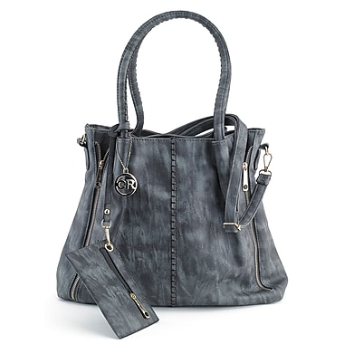 Club Rochelier Secure Top Zip Shoulder Handbag with Coin Purse and Adjustable Shoulder Strap, Charcoal