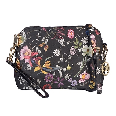 Club Rochelier Cross-Body Handbag with Floral Design and Wristlet, Black Floral