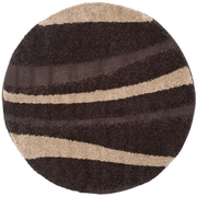 Safavieh Florida Shag Round Area Rug, 4' x 4', Dark Brown/Beige (SG451-2813-4R)