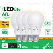 Globe 10W A19 LED Soft White Light Bulb, 60W EQ, 4/Pack  (30716)