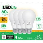 Globe – Ampoule blanc doux DEL A19 10 W, eq 60W, paq./4 (30716)
