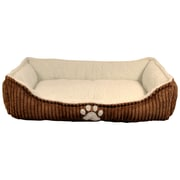 "Danazoo Corduroy Cuddler Pet Bed with Polydot Bottom, 25"" x 16"" x 6"", Brown & Beige (74244)"