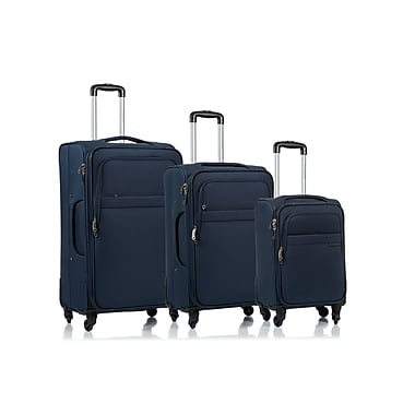 CHAMPS Luggage BROOKLYN Collection 3-Piece Soft Side 4-Wheeled Expandable Luggage Set, Navy