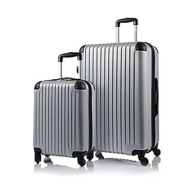 CHAMPS Luggage TOURIST Collection 2-Piece Hard Side 4-Wheeled Expandable Luggage Set, Silver