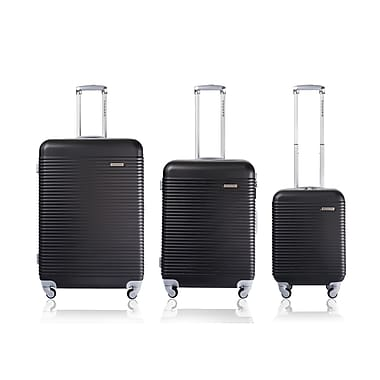 CHAMPS Luggage Wide Body Collection 3-Piece Hard Side 4-Wheeled Expandable Luggage Set, Black