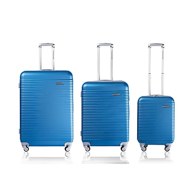 CHAMPS Luggage Wide Body Collection 3-Piece Hard Side 4-Wheeled Expandable Luggage Set, Blue