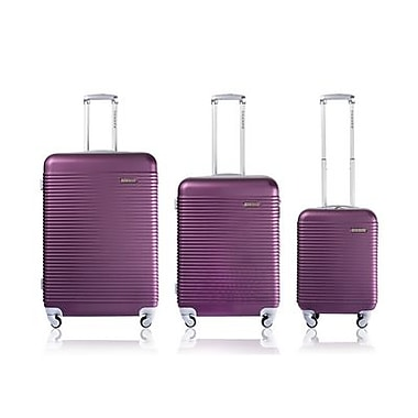 CHAMPS Luggage Wide Body Collection 3-Piece Hard Side 4-Wheeled Expandable Luggage Set, Purple