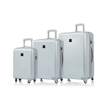CHAMPS Luggage ICONIC Collection 3-Piece Hard Side 4-Wheeled Expandable Luggage Set, Silver