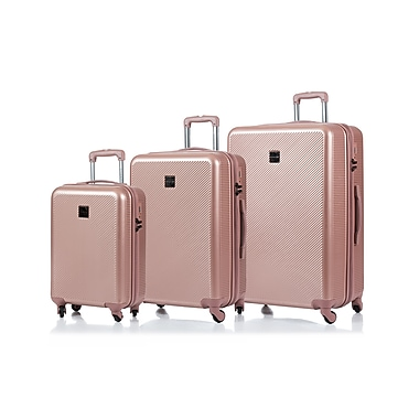 CHAMPS Luggage ICONIC Collection 3-Piece Hard Side 4-Wheeled Expandable Luggage Set, Rose Gold
