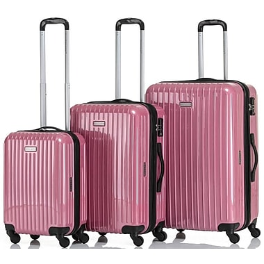 CHAMPS Luggage GALAXY Collection 3-Piece Hard Side 4-Wheeled Expandable Luggage Set, Pink