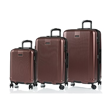 CHAMPS Luggage London Collection 3-Piece Hard Side 4-Wheeled Expandable Luggage Set, Burgundy