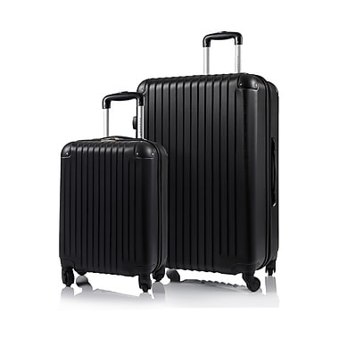 CHAMPS Luggage TOURIST Collection 2-Piece Hard Side 4-Wheeled Expandable Luggage Set, Black