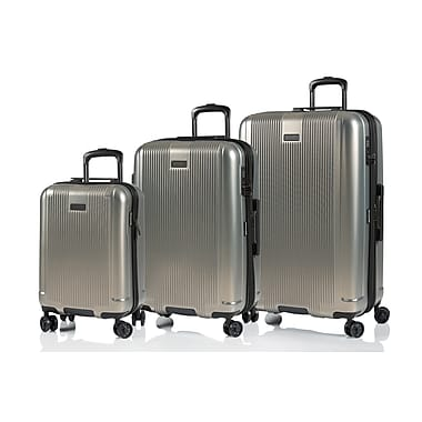CHAMPS Luggage London Collection 3-Piece Hard Side 4-Wheeled Expandable Luggage Set, Grey