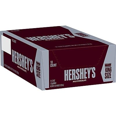 Hershey's Milk Chocolate Bar King Size, 2.6 oz., 18/Box