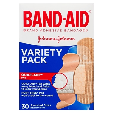 BAND-AID Brand® - Pansements adhésifs, emballage varié, paq./30
