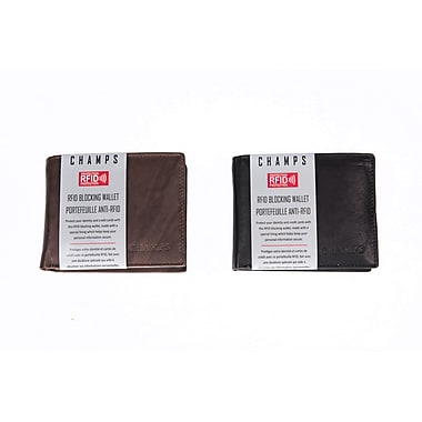 Champs Leather RFID Center Card/ ID Wallet