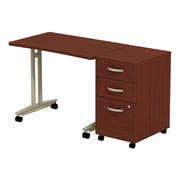 Bush Business Furniture Westfield Adjustable Height Mobile Table with Mobile Pedestal, Mahogany, Installed (SRC027MASUFA)