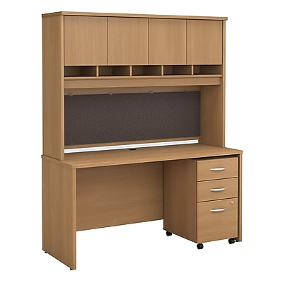 Bush Business Furniture Westfield 60W x 24D Office Desk with Hutch and Mobile File Cabinet, Light Oak, Installed (SRC014LOSUFA)