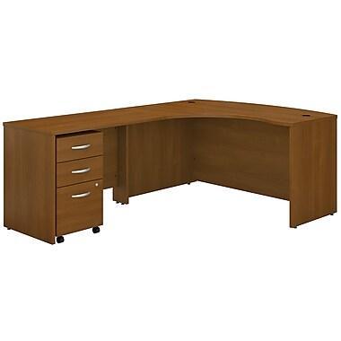 Bush Business Furniture Westfield Left Handed L Shaped Desk with Mobile File Cabinet, Warm Oak (SRC007WOLSU)