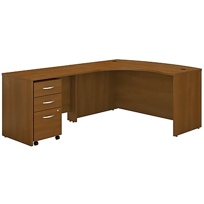 Bush Business Furniture Westfield Left Handed L Shaped Desk with Mobile File Cabinet, Warm Oak, Installed (SRC007WOLSUFA)