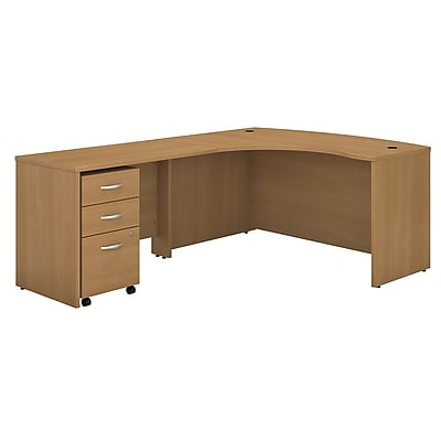 Bush Business Furniture Westfield Left Handed L Shaped Desk with Mobile File Cabinet, Light Oak, Installed (SRC007LOLSUFA)