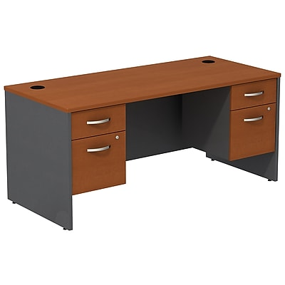 Bush Business Furniture Westfield Desk with two 3/4 Pedestals, Auburn Maple, Installed (SRC008AUSUFA)