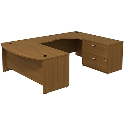 Bush Business Furniture Westfield Bow Front Right Handed U Shaped Desk with File Cabinet, Warm Oak, Installed (SRC019WORSUFA)