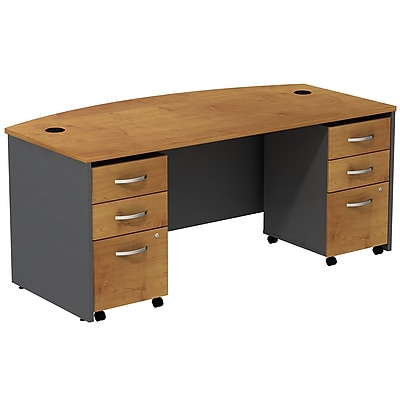 Bush Business Furniture Westfield Bow Front Desk w/ two 3 Drawer Mobile Pedestals, Natural Cherry, Installed (SRC013NCSUFA)