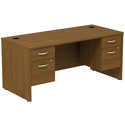 Bush Business Furniture Westfield Desk with two 3/4 Pedestals, Warm Oak, Installed (SRC008WOSUFA)