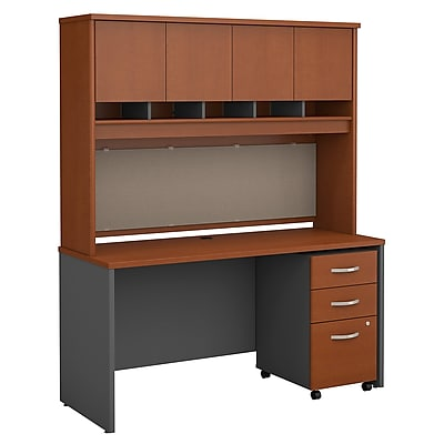Bush Business Furniture Westfield 60W Office Desk with Hutch and Mobile File Cabinet, Auburn Maple, Installed (SRC014AUSUFA)