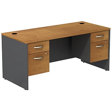 Bush Business Furniture Westfield Desk with two 3/4 Pedestals, Natural Cherry (SRC008NCSU)