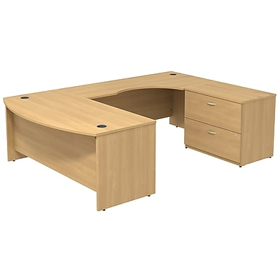 Bush Business Furniture Westfield Bow Front Right Handed U Shaped Desk with File Cabinet, Light Oak, Installed (SRC019LORSUFA)