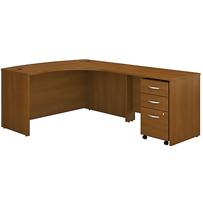 Bush Business Furniture Westfield Right Handed L Shaped Desk with Mobile File Cabinet, Warm Oak, Installed (SRC007WORSUFA)