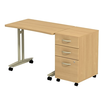 Bush Business Furniture Westfield Adjustable Height Mobile Table with Mobile Pedestal, Light Oak, Installed (SRC027LOSUFA)