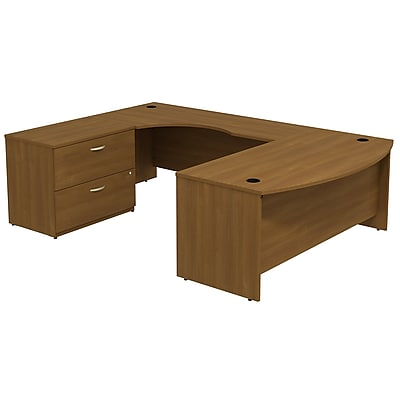 Bush Business Furniture Westfield Bow Front Left Handed U Shaped Desk with File Cabinet, Warm Oak, Installed (SRC019WOLSUFA)